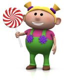 Blond girl with lollipop. Cute cartoony blond haired girl with lollipop - 3d illustration/rendering Stock Photography