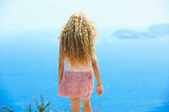 Blond girl looking blue Mediterranean sea tourist Stock Images