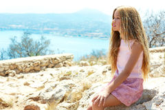 Blond girl looking blue Mediterranean sea tourist Royalty Free Stock Photography
