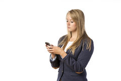 Blond Girl looking cellphone Stock Photos