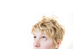 Blond Girl Looking Up / Left (mixed hairs) Royalty Free Stock Images