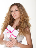 Blond girl with love letters Stock Photo