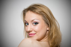 Blond girl with make-up portrait Royalty Free Stock Photography