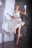 Blond girl Marilyn Monroe style Stock Photos