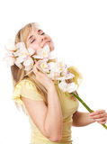 Blond girl with orchid. Blond woman with orchid, isolated on white Stock Photography