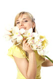 Blond girl with orchid. Blond woman with orchid, isolated on white Stock Image