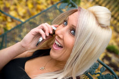 Blond Girl on the Phone Stock Photo