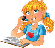 Blond girl and phone and book. Blond vector girl and phone and book Royalty Free Stock Photos