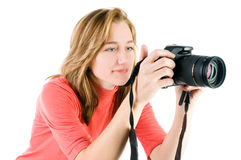 Blond girl with photocamera Stock Images