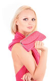 Blond girl in pink dress Royalty Free Stock Photo