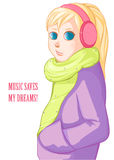 Blond girl in pink headphones. Royalty Free Stock Photography