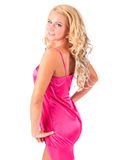Blond girl in pink tunic Royalty Free Stock Images