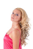 Blond girl in pink tunic Stock Photo