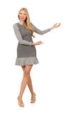 Blond girl in polka dot dress isolated on white Royalty Free Stock Photo