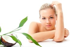 Blond girl portrait, spa and cosmetics theme Stock Photography