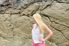 Blond girl posing on the beach in Spain Stock Photos