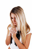 Blond girl praying. Royalty Free Stock Photos