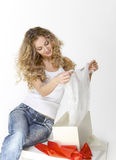 Blond girl with present Royalty Free Stock Photo
