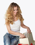 Blond girl with present Royalty Free Stock Image