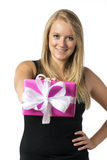 Blond girl with present Royalty Free Stock Photography