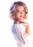 Blond girl purity studio Royalty Free Stock Image