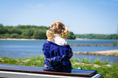 Blond girl rear view Royalty Free Stock Image