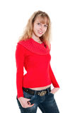 Blond girl in red Stock Photos