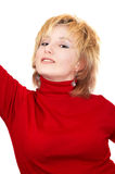 Blond girl in red Royalty Free Stock Photo