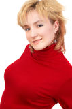 Blond girl in red. Beautiful young blond girl in red. isolated on white Stock Photography