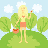 Blond girl with red apples Stock Photos