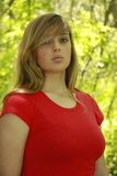 Blond Girl Red Shirt Royalty Free Stock Image