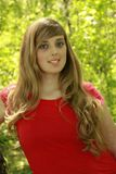 Blond Girl Red Shirt stock photo