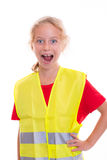 Blond girl with reflective vest Stock Photography