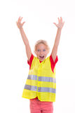 Blond girl with reflective vest Royalty Free Stock Photos