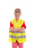 Blond girl with reflective vest Royalty Free Stock Photography