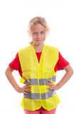 Blond girl with reflective vest Royalty Free Stock Images