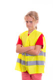 Blond girl with reflective vest. In front of white background Stock Photos