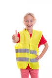 Blond girl with reflective vest. In front of white background royalty free stock photo
