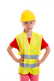 Blond girl with reflective vest and helmet Stock Image