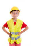 Blond girl with reflective vest and helmet Royalty Free Stock Photos