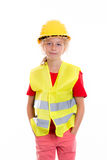 Blond girl with reflective vest and helmet Stock Images