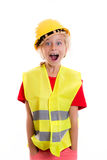 Blond girl with reflective vest and helmet Royalty Free Stock Image