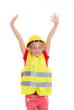 Blond girl with reflective vest and helmet Royalty Free Stock Photography