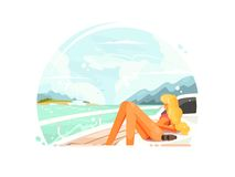 Blond girl relaxing on yacht Royalty Free Stock Photos