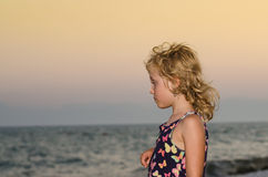 Blond girl and sea Royalty Free Stock Images