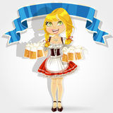 Blond girl serves beer glasses Royalty Free Stock Photo