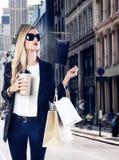 Blond girl shopaholic in Manhattan Soho New York Royalty Free Stock Photo