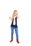 Blond girl showing signs Excellent! Royalty Free Stock Photo