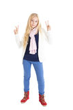 Blond girl showing signs Victory Stock Images