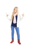 Blond girl showing some signs Stock Photography